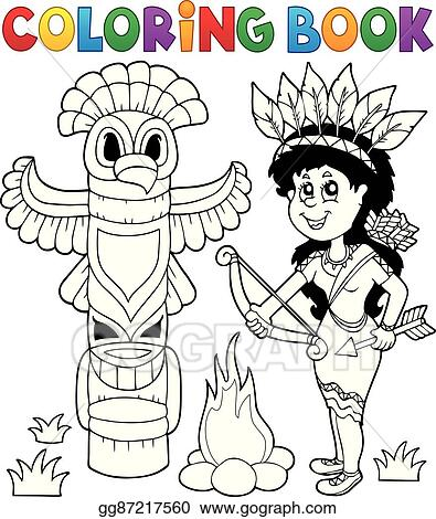 Vector Art - Coloring book indian theme image 4. Clipart Drawing ...