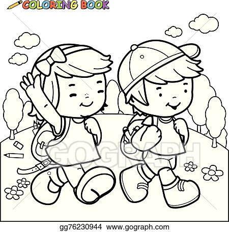 Vector Stock Coloring Book Kids Walk To School Stock Clip Art