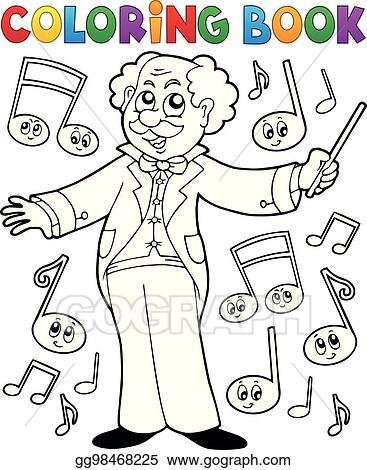 Vector Illustration - Coloring book music maestro. EPS Clipart ...