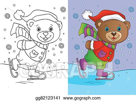 - Vector Illustration - Coloring Book Of Cute Teddy Bear Skates. Stock Clip  Art Gg82123141 - GoGraph