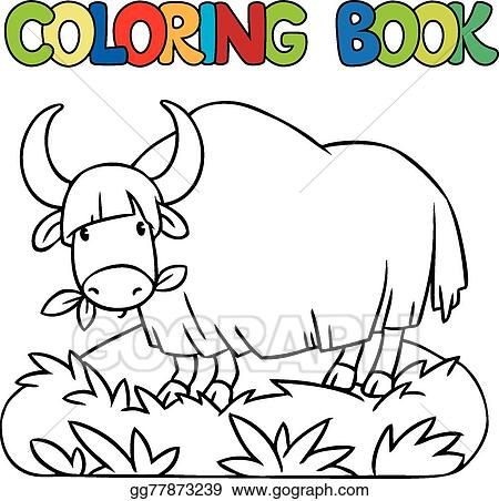 Vector Stock - Coloring book of funny wild yak. Clipart Illustration ...