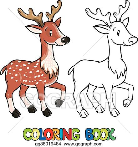 Vector Art - Coloring book of lttle funny young deer or fawn ...