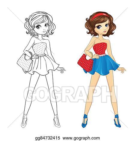 - Vector Art - Coloring Book Of Pinup Girl. EPS Clipart Gg84732415 - GoGraph