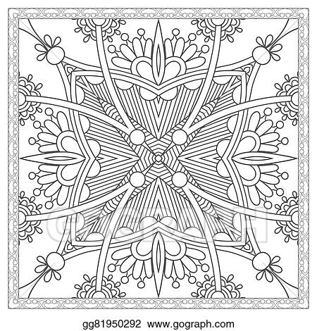 Vector Art - Coloring book square page for adults - ethnic floral ...