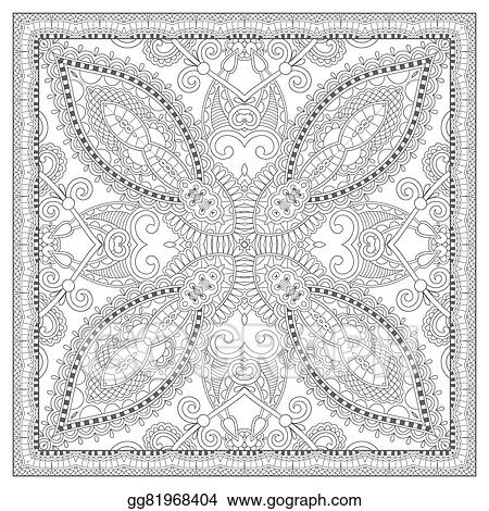 Vector Illustration - Coloring book square page for adults - ethnic ...