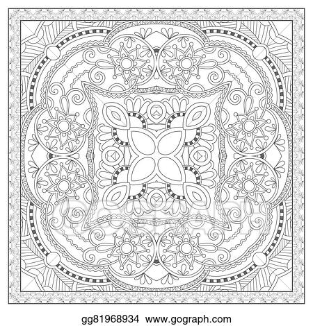 Vector Illustration - Coloring book square page for adults ...