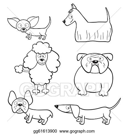 Vector Clipart - Coloring book with cartoon dogs. Vector ...