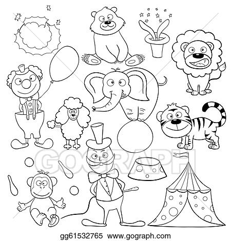Clip Art Vector - Coloring book with circus elements. Stock EPS ...