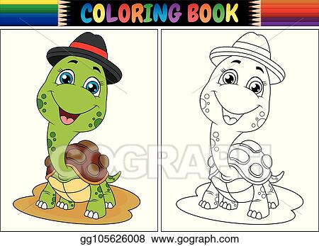 Vector Art - Coloring book with cute turtle wearing cap. Clipart ...