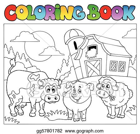 Vector Art - Coloring book with farm animals 3. EPS clipart ...