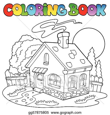 Vector Stock - Coloring book with small house. Clipart Illustration ...