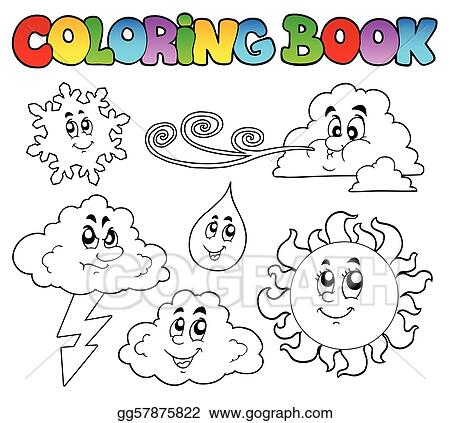 Vector Stock - Coloring book with weather images. Clipart ...