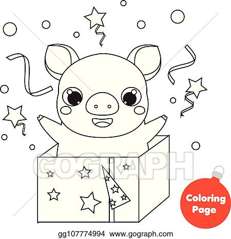 Vector Illustration Coloring Page 2019 Chinese New Year Pig In