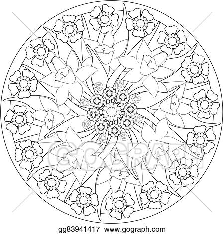 Coloring Page Adult Book Floral Illustration Black And White With Flowers