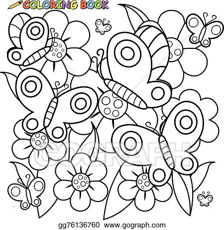Vector Illustration Coloring Page Butterflies Flowers Stock Clip