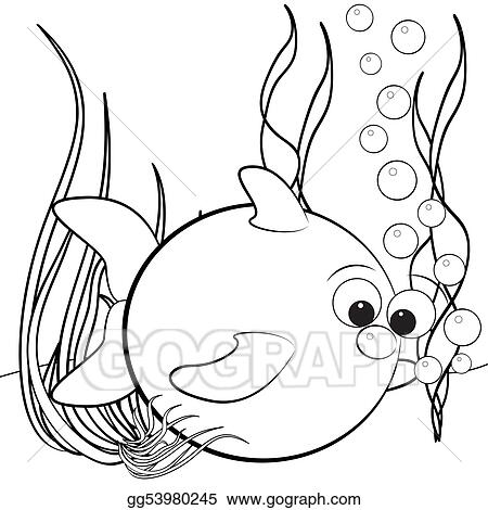 Clip Art Coloring page fish and air bubbles Stock