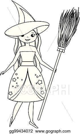 eps vector coloring page for children cute witch holding broom
