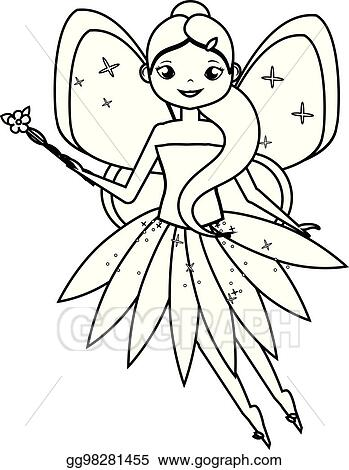EPS Illustration - Coloring page with cute flying fairy ...