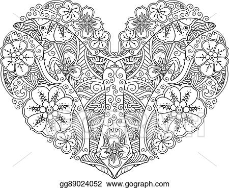 Coloring Page With Dolphin In Heart Shape Isolated On White Background