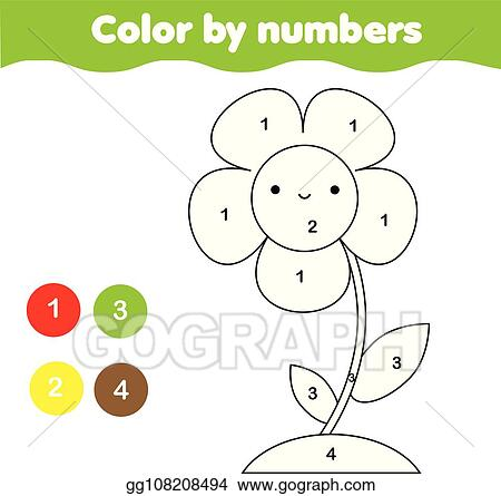 Vector Illustration - Coloring page with flower. color by numbers ...