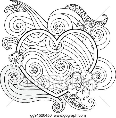 Vector Art Coloring Page With Heart And Abstract Element
