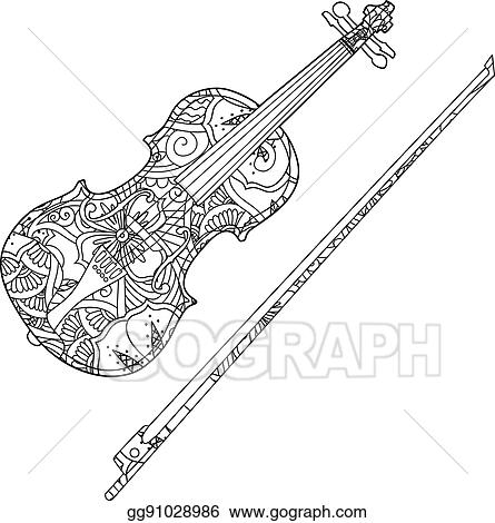 Vector Art Coloring Page With Ornamental Violin And Fiddlestick