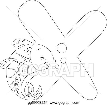 Eps Vector Coloring Page X Ray Fish Stock Clipart Illustration