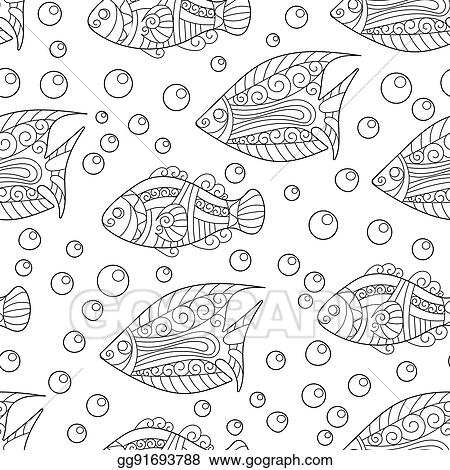 - Vector Illustration - Coloring Pages For Adult. Book. Antistress. Seamless  Abstract Hand-drawn Ornamental Fish With Babbles Pattern. Zentangle  Background. Doodl Style. Stock Clip Art Gg91693788 - GoGraph