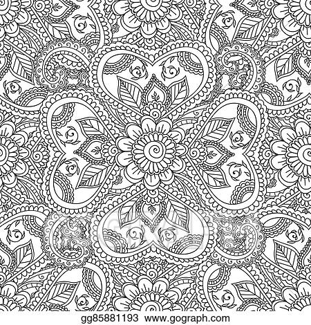 Vector Clipart Coloring Pages For Adults Seamles Henna Mehndi