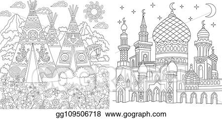 Indian village scene coloring pages | 241x450