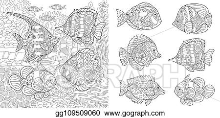 Vector Art Coloring Pages With Tropical Fishes Eps Clipart