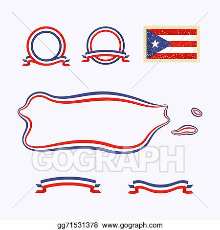 Vector Clipart Colors Of Puerto Rico Vector Illustration - Package of map colors
