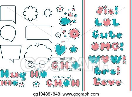 Clip Art Vector Comic Bubble Set Popular Phrases And Quotes In