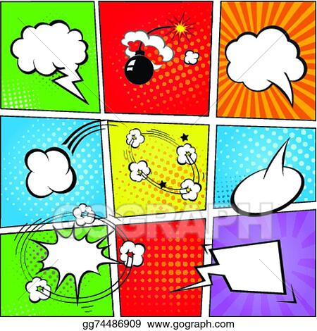Comic Speech Bubbles And Strip Background Vector Illustration