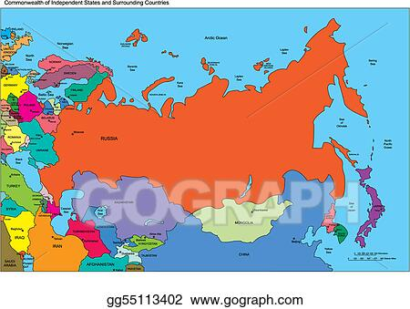 EPS Illustration - Comonwealth of independent states, russia and ...