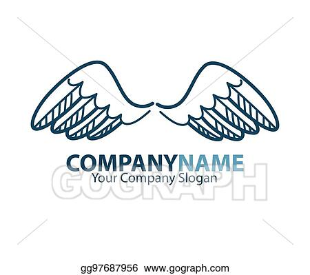 Vector Stock Company Name Emblem With Blue Bird Wings Isolated On
