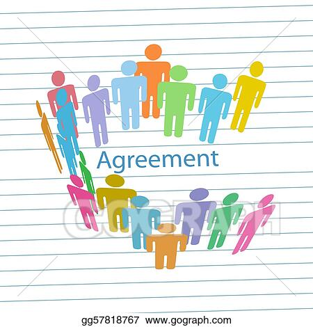 Vector Clipart Company People Meet Consensus Agreement Contract