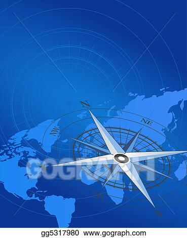 Stock Illustration - Compass and map  Clip Art gg5317980 - GoGraph