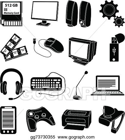 a7425fc8cd5 Vector Illustration - Computer parts icons set. Stock Clip Art ...