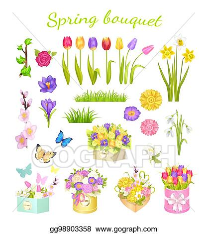 Vector Art Concept Of Beautiful Spring Bouquet Color Flowers Eps