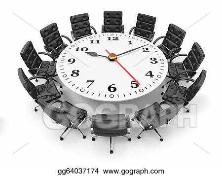 Drawing   Concept Of Business Meeting Or Brainstorming. Circle Table As  Clock And Armchairs. 3d. Clipart Drawing Gg64037174