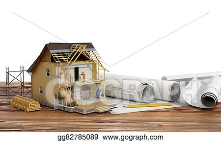 Stock Illustration Concept Of Construction 3d Render Of House