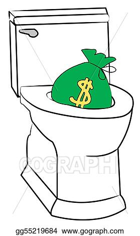 toilet drawing. Drawing  Concept of flushing money down the toilet Clipart gg55219684