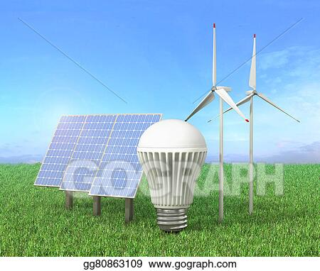 Stock Illustration - Concept of green energy  wind tower, led light