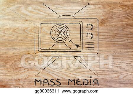 drawings concept of tv ads and mass media communication screeen