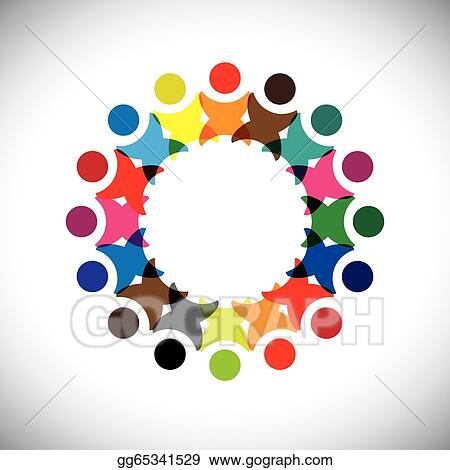 Clip art vector concept vector graphic abstract colorful abstract colorful employee unity iconssigns the illustration represents concepts like worker unions employee diversity community friendship sciox Gallery