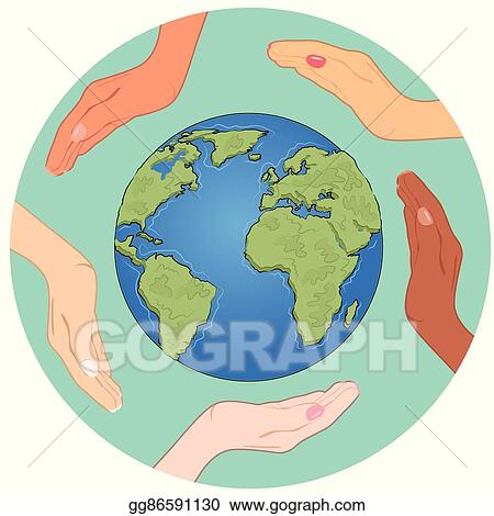 Vector Art Conceptual Symbol Of Earth Globe With Multiracial Human