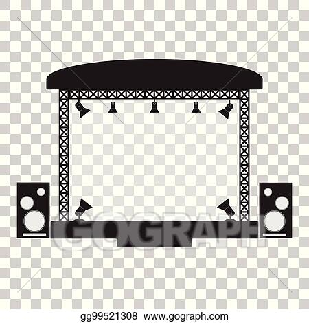 Concert Stage And Musical Equipment Simpl Flat Design