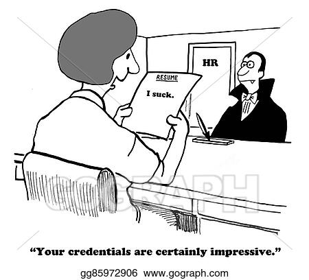Drawing   Business Cartoon About A Concise, But Honest, Resume. Clipart  Drawing Gg85972906  Resume Clip Art