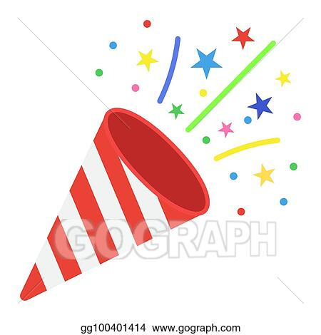 confetti popper flat icon new year and christmas xmas sign vector graphics a colorful solid pattern on a white background eps 10